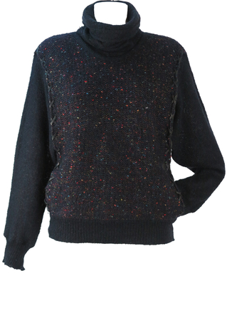 Black Mohair & Wool Roll Neck Jumper with Multi Coloured Overlay & Leather Trim - M