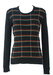 Black Jumper with Orange & Mint Green Grid Pattern - M