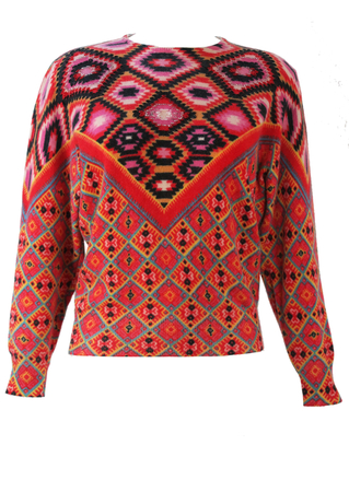 Wool Jumper with Multi Coloured Aztec Pattern & Bead Detail - S/M