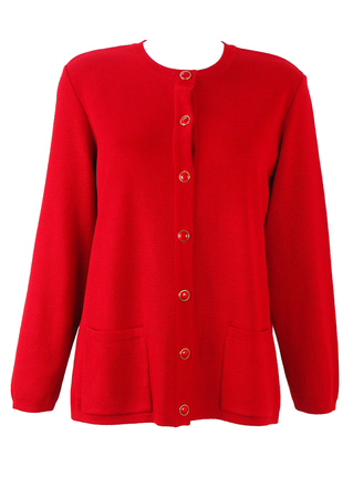 Bright Red Cardigan with Red & Gold Buttons - M/L
