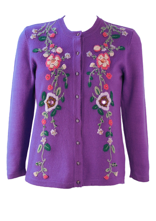 Lilac Wool Cardigan with Floral Embroidery & Beading - S
