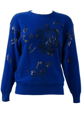 Electric Blue Jumper with Hand Painted Silver Glitter Rose Design - S/M