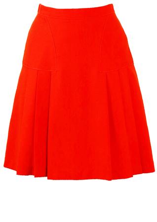 Vintage 60's Above the Knee Orange Pleat Skirt - S