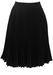 Black Knee Length Flared Skirt with Tight Pleat Detail - S/M