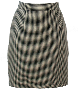 Black & White Dogtooth Check Mid Thigh Pencil Skirt - S