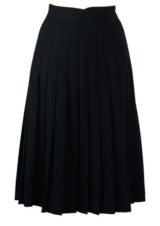 Navy Blue Midi Length Pleated Skirt - S