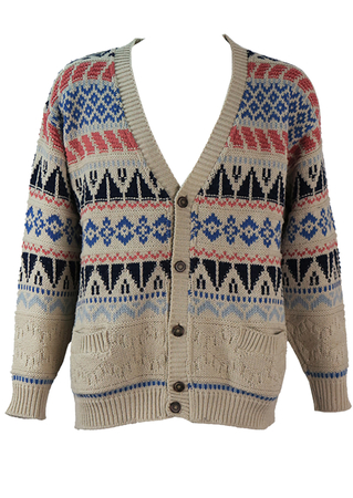 Textured Knit Cream Cardigan with Blue & Salmon Pink Pattern - L/XL