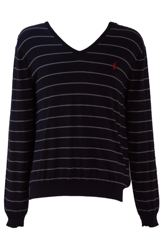 Ralph Lauren Polo V Neck Cotton Jumper with Navy & Grey Stripes - L