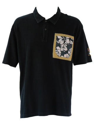Navy Napapijri Polo Shirt with Back Print & Hawaiian Pocket Detail - XXL