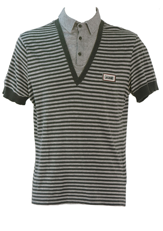 Roberto Cavalli Polo Shirt with Grey Striped T-Shirt Outer Layer - M/L