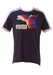 Puma Navy & White Racing Stripe T-Shirt with Multicoloured Graphic - M