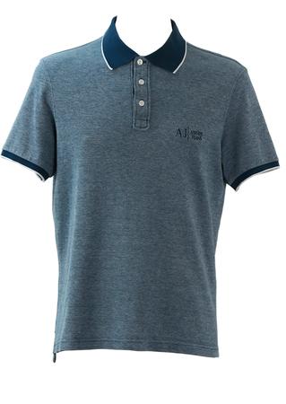 Armani Jeans Teal & White Polo Shirt - M/L