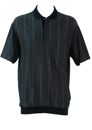 Pierre Cardin Navy & Grey Striped Polo Shirt with Yellow & White Highlights - L