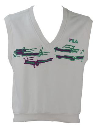 Fila White V-Neck Sleeveless Top with Green and Purple Graphic - M