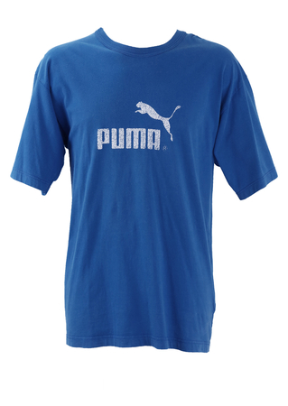 Royal Blue Puma T-shirt with White Graphic - L