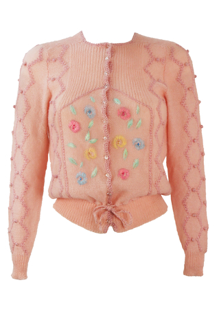 Soft Pink Knit Cardigan with Floral Embroidery & Metallic Pink Highlights - XS