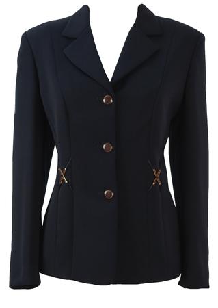 Luisa Spagnoli Navy Jacket with Gold Detailing - M