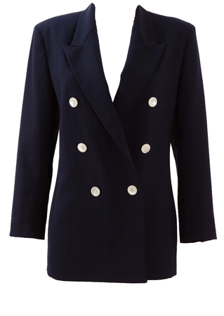 Genny Double Breasted Navy Blazer with White Button Detail - M