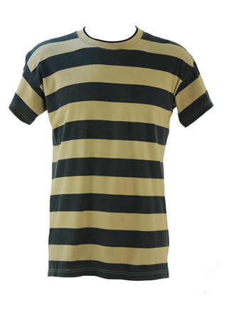 Armani Beige & Black Striped T-shirt with Nautical Applique on Back - M