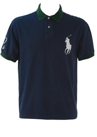 Ralph Lauren Navy Polo Shirt with Green Collar & Cuff Trim - L