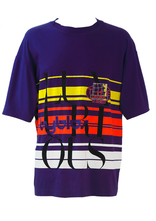 Byblos Purple T-shirt with Yellow, Orange & White Stripes - XL/XXL