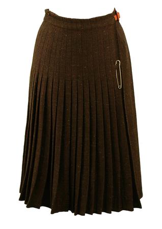 Les Copains Pleated Wool Wrap Kilt Skirt with Snakeskin Belt - S