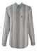 Armani Jeans White Shirt with Blue and Tan Textured Stripes - XL/XXL