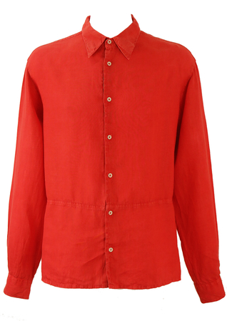 Armani Jeans Red Linen Long Sleeved Shirt with Panel Detail - L/XL