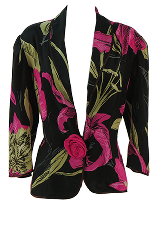 FJACSS039- Floral Blouse with Rose Button Detail