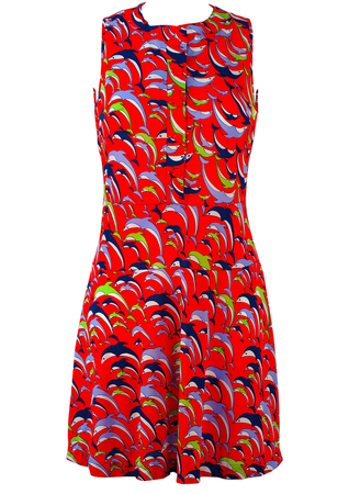 Vintage 1960's Red Mini Dress with Multicoloured Dolphins - XS/S