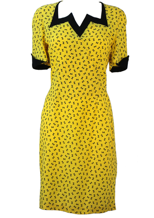 Bright Yellow Midi Dress with Black Abstract Butterfly Print & Neckline Detail - M