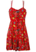 Red Floral, Button Front Playsuit with Criss Cross Strap Detail - M