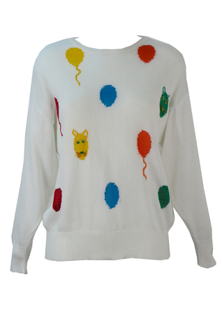 White Cotton Jumper with Multicoloured Balloon & Cat Design - M