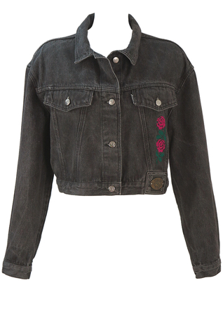 90's Cropped Black Denim Jacket with Floral Embroidery - M