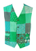 Green and Blue Patchwork Print Waistcoat - M/L