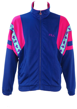 Fila Blue Track Jacket with Pink & Turquoise Shoulder Detail - M/L