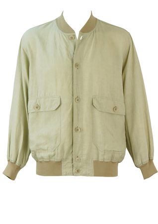 Pure Linen Light Beige Bomber Jacket - M/L