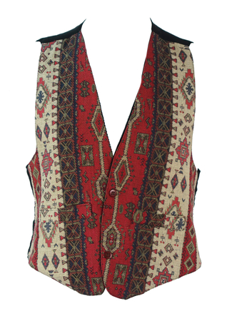 Waistcoat with Burgundy, Navy Blue and Cream Tapestry Design - S