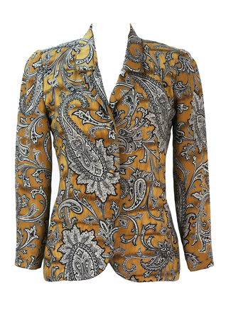 Camel Coloured Jacket with Black & White Paisley Print - S