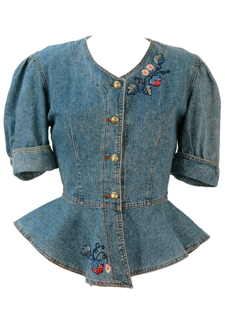 Short Sleeved Denim Peplum Jacket with Embroidered, Beaded Flowers - S