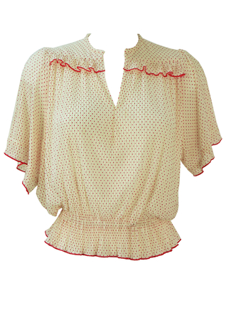 1930's Style White Pleated Top with Mini Red Polka Dots & Frills - S