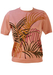 Vintage 60's Salmon Pink Short Sleeve Top with Palm Leaves Pattern - S