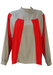Vintage 80's Red & Grey Striped Batwing Blouse with Side Buttons - M