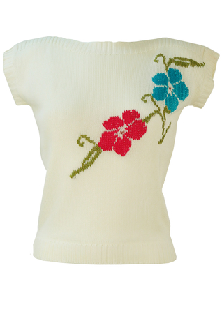 White Sleeveless Slash Neck Top with Pink & Blue Floral Embroidery - S