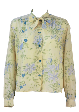 Vintage 70's Pussy Bow Blouse with Delicate Blue & Green Floral Pattern - L