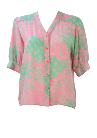 Silk Short Sleeve Blouse with Mint Green & Pink Floral Pattern - M/L
