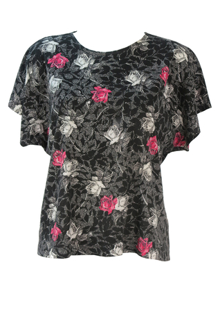 Black Short Sleeve Top with Pink, White & Grey Floral Pattern - M/L
