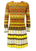 Vintage 60's Long Sleeve Mini Dress with Vibrant Orange, Yellow, White & Brown Psychedelic Pattern - S