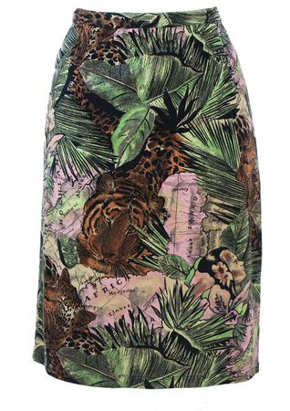 Tropical Themed Pencil Skirt with Giant Leopards & Tigers - M