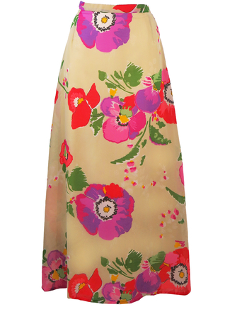 Vintage 70's Multicoloured Poppy Print Maxi Skirt - S